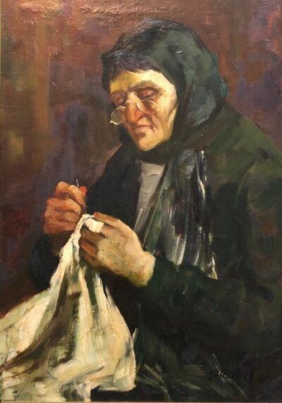 Adolf Adler, 'Israeli Judaica Old Jewish Woman Sewing Expressionist Oil Painting', Mid-20th Century