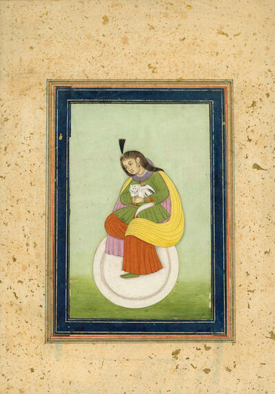 India, Mughal, 'Portrait of a Woman with a Cat', 1780-1800