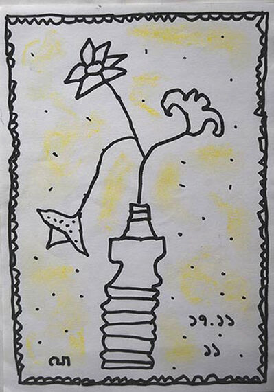Jogen Chowdhury, 'Flower Vase, still life drawing in Ink by Painter of 21st century in India, Jogen Chowdhury', 2011