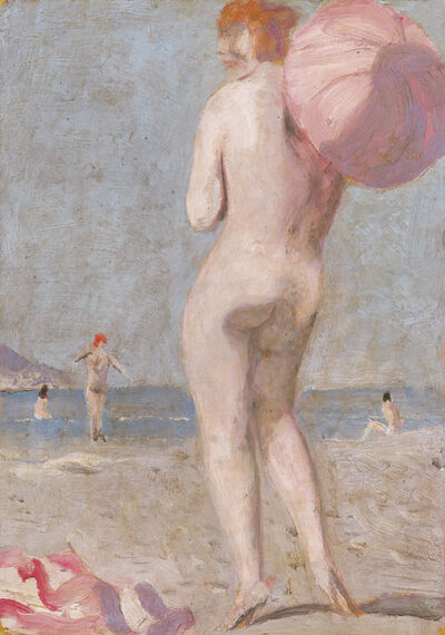 Alfons Walde, 'On the Beach with Parasol', ca. 1925