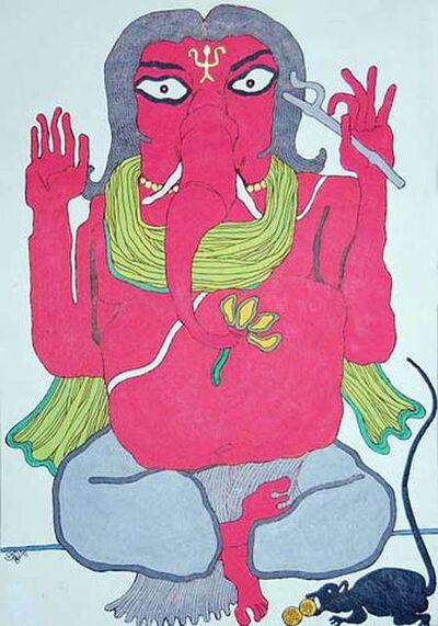 "Prokash Karmakar, 'Ganesha, Mixed Media on Paper, Pink, Blue, Green by Modern Indian Artist ""in Stock""', 2008"