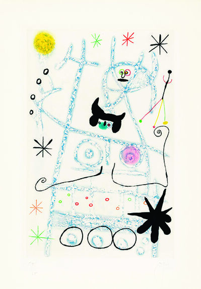 Joan Miró, 'Joan Miro, Les Forestiers (bleu), aquatint printed in colours, 1958, signed', 19588