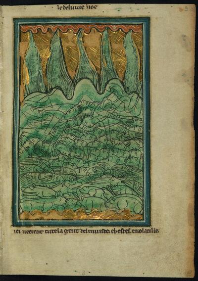 William de Brailes, 'The Flood of Noah (Genesis 7:11-24)', ca. 1250