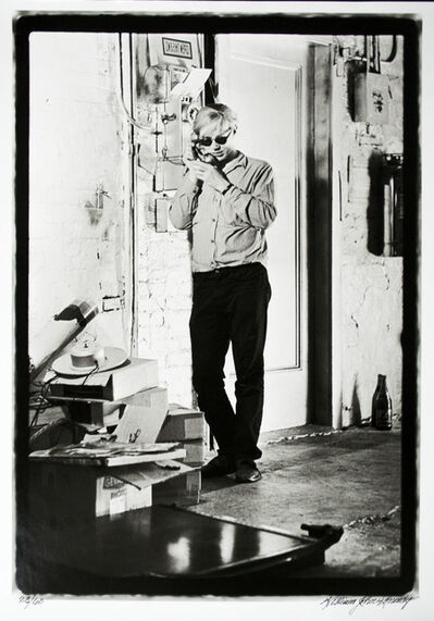 William John Kennedy, 'Andy Warhol talking on the phone in the Factory', 1964