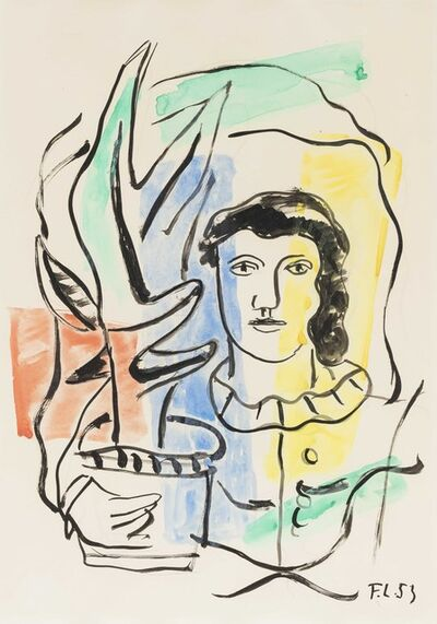 Fernand Léger, 'Jeune fille tenant un vase', executed in 1953.