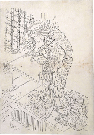 Utagawa Toyokuni III (Utagawa Kunisada), 'Preparatory Drawing for print 'ABC Poems for Beautiful Courtesans: The Syllable Ro, Tsukasa of the Ogiya'', ca. early 1820s