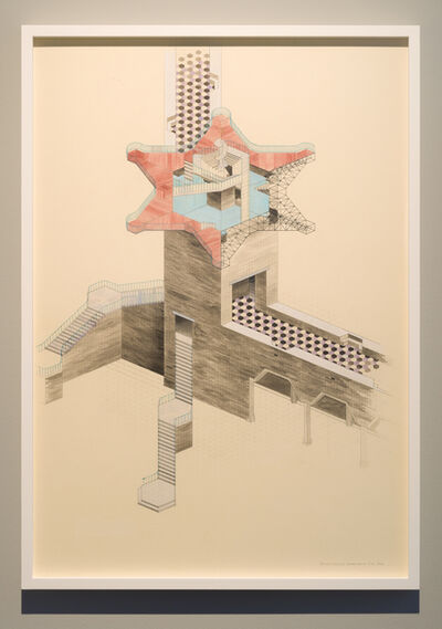 Charles Avery, 'Untitled (Axonometric view of concave station, Onomatopoeia City Wall)', 2019