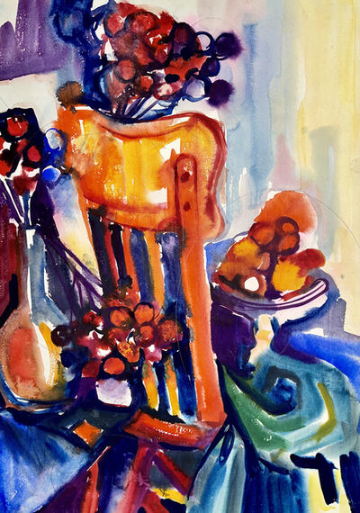 Ian Hornak, 'Untitled (Abstract Still Life with Chair, Flowers and Fruit)', 1963