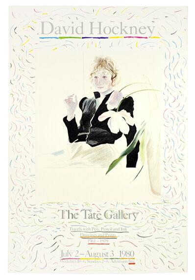 David Hockney, 'Vintage David Hockney Poster: Tate Gallery 1980 (Celia in a Black Dress with White Flowers 1972', 1980