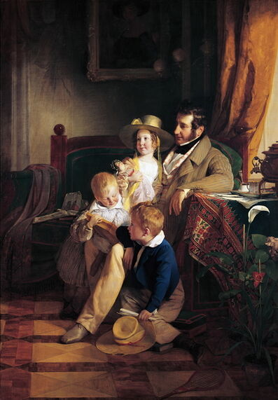 Friedrich von Amerling, 'Rudolf von Arthaber and his Children Rudolf, Emilie and Gustav', 1837