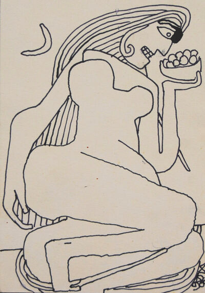 "Prokash Karmakar, ' Reclining Women, Nude Drawing, Ink on paper, Black & White by Master Artist ""In Stock""', 2006"