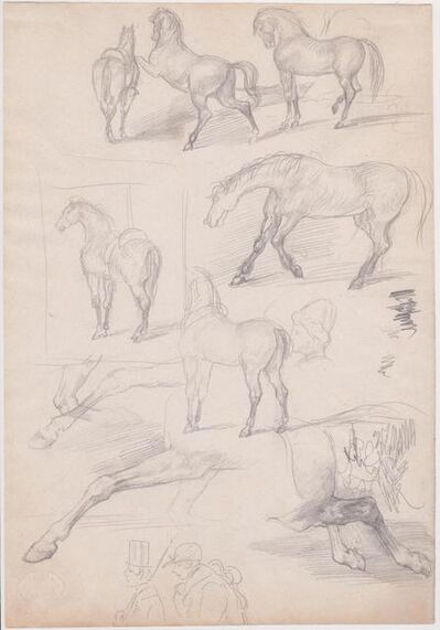 Edgar Degas, 'Studies of Horses and Riders', 1862-1864