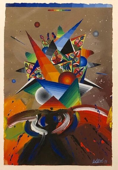 Georges Dussau, 'French Surrealist Colorful Futurist Abstract Painting Composition', 20th Century