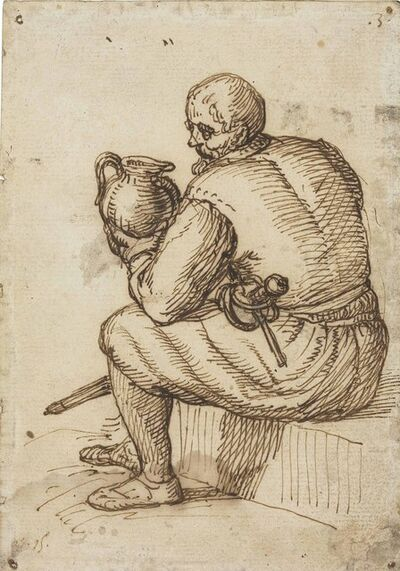 Circle of Jacob de Gheyn II, 'A seated man with a sword and a jug'
