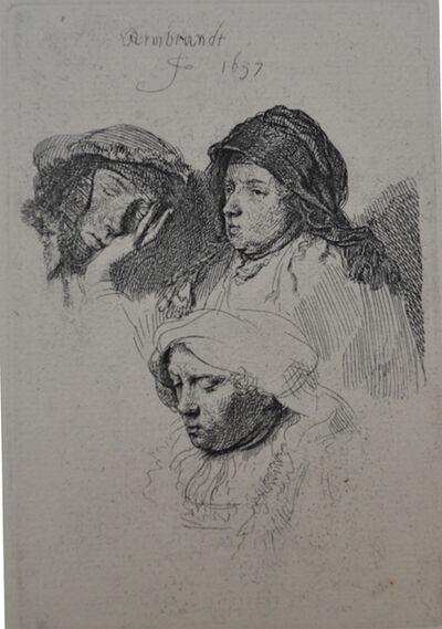 Rembrandt van Rijn, 'Three Heads of Women, One Asleep ', Etched in 1637, Printed in 1906 (Beaumont, Paris)