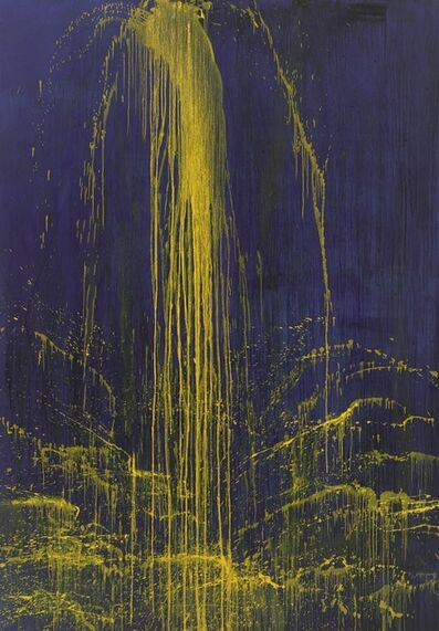 Pat Steir, 'Smaller Yellow on Blue Waterfall', 1992