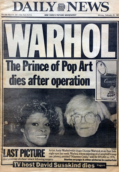 "Andy Warhol, '""Andy Warhol, 1928-1987: Pop Art's King Dies""', 1987"