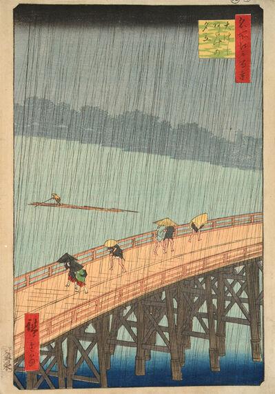 Utagawa Hiroshige (Andō Hiroshige), 'Sudden Shower at Ohashi Bridge and Atake', 1857
