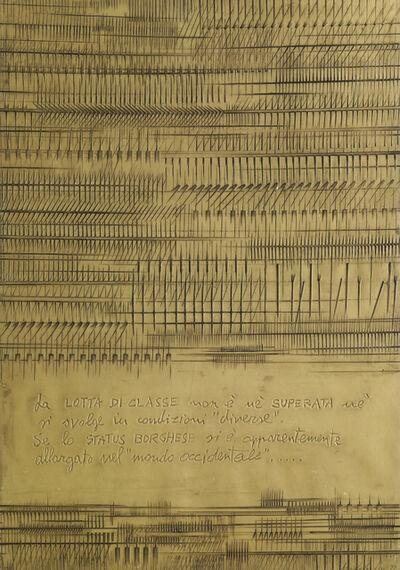 Arnaldo Pomodoro, 'Cronaca 7: Gastone Novelli, Cronaca 2: Gastone Novelli, Cronaca 5: Paolo Castaldi, and Cronaca 4: Paolo Castaldi (4 works)', 1976