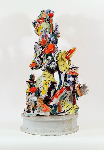Viola Frey, 'Western Civilization: Urn, Hand with Monkey and Figurines', 1999