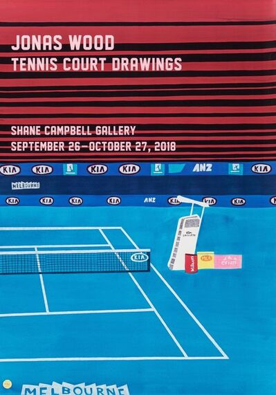Jonas Wood, 'Tennis Court Drawings, exhibition poster', 2018