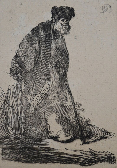 Rembrandt van Rijn, 'Man in a Coat and Fur Cap Leaning Against a Bank ', Etched c. 1630, Printed in 1906 (Beaumont, Paris)