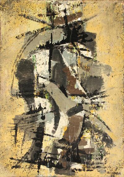 Mario Bionda, 'Verticale fondo giallo', 1956