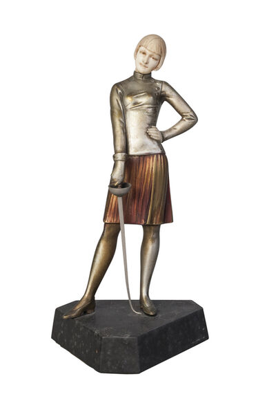 Ferdinand Preiss, ''Girl Fencer', a cold-painted bronze and ivory figure', c. 1930