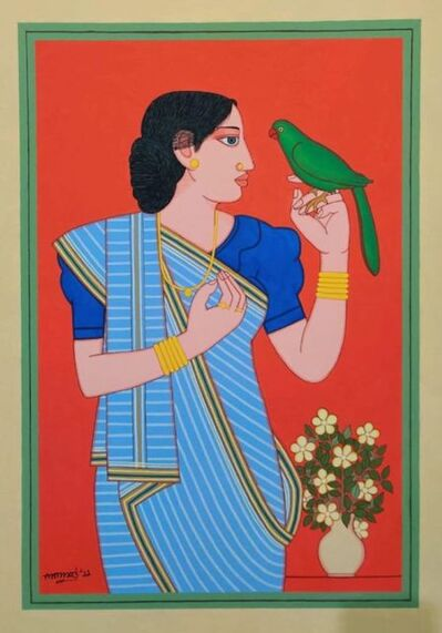 "Lalu Prasad Shaw, 'Biwi, Tempera on Board Red, Blue, Green Colours by Modern Artist ""In Stock""', 2019"
