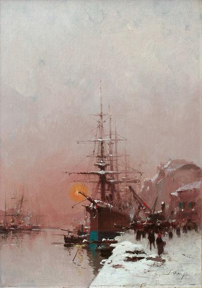 Eugène Galien-Laloue, 'Rotterdam Harbour', ca. 1930