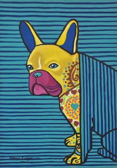 Ademyr Costa, 'Yellow Dog Blue Stripes'