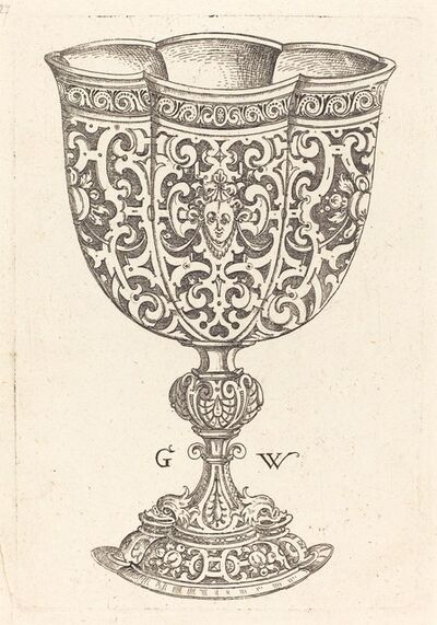 Georg Wechter I, 'Chalice with six embossings, base decorated with two dolphins', published 1579