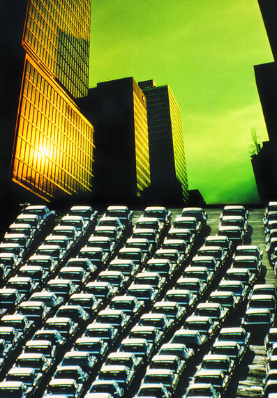 Mitchell Funk, 'New York Skyscrapers with Green Sky  and Divergent Perspective', 1976