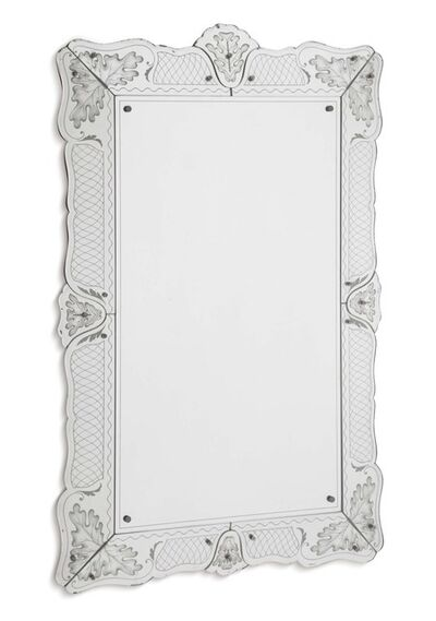 Pietro Chiesa, 'A mirror with a wooden structure and a frame in sandblasted and silver-coated crystal', 1940 ca.