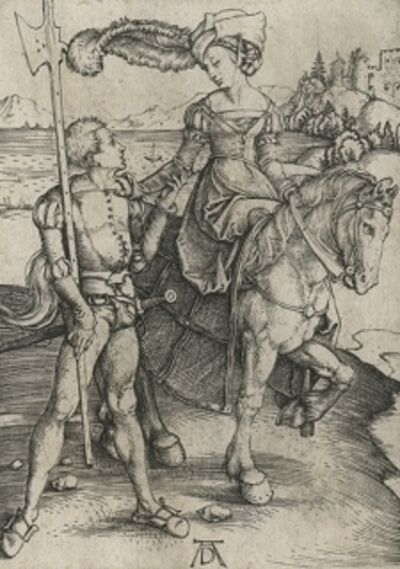 Albrecht Dürer, 'Lady on Horseback and Lansquenet', ca. 1497