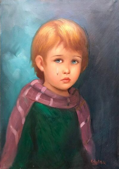 Erbert Mule, '1970s Big Eyed Waif Sad Child with Scarf Oil Painting', 1970-1979
