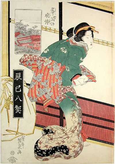 Keisai Eisen, 'Eight Views of Fukugawa District: Evening Bell at Tomigaoka', ca. 1830s