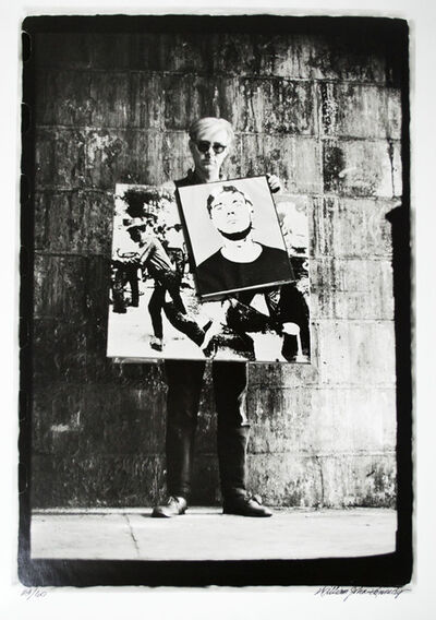 William John Kennedy, 'Andy Warhol with his works Self-Portrait and Birmingham Race Riot', 1964