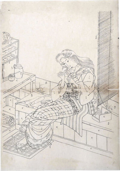 Utagawa School, 'Preparatory Drawing of a Woman Assembling a Doll While Seated at a Tea Stall', ca. 1830