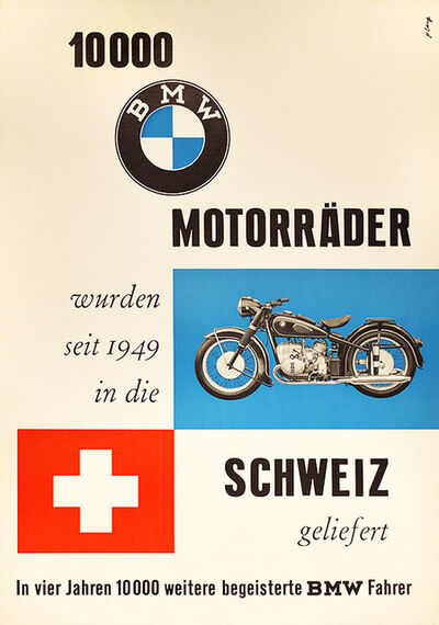 P. Lang, 'BMW MOTORCYCLE 10,000 DELIVERED', 1949