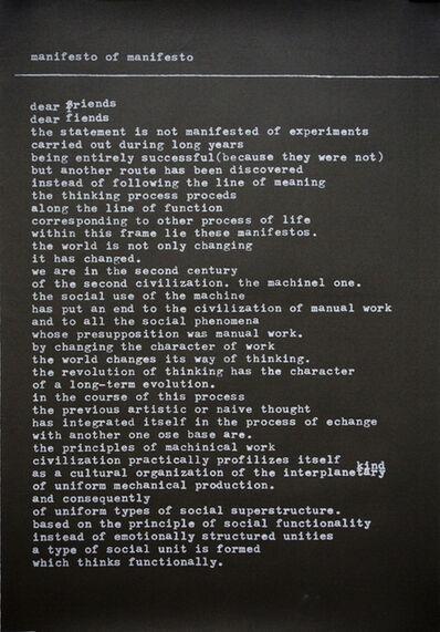 Mangelos, 'manifesto of manifesto (in English)', 1977