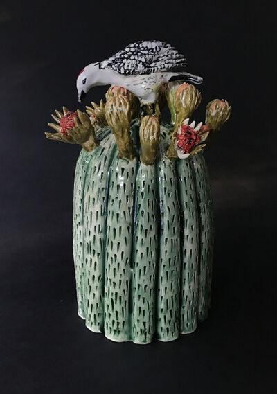 Ellen Rundle, 'Blooming Barrel Cactus with Woodpecker', 2017