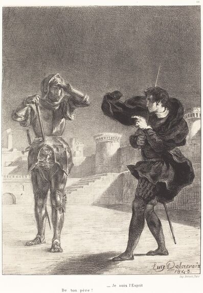 Eugène Delacroix, 'The Ghost on the Terrace (Act I, Scene V)', 1843