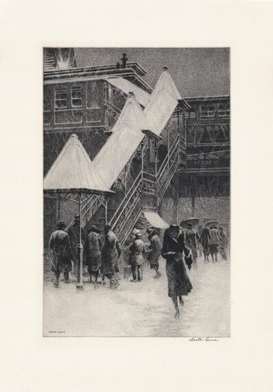 "Martin Lewis, 'Snow on the ""El.""', 1931"