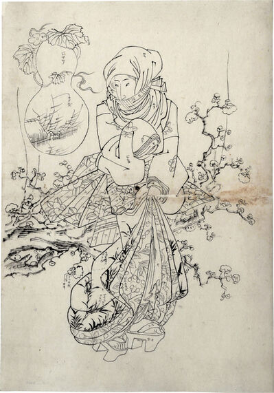 Keisai Eisen, 'Preparatory Drawing for print 'Plum Tree Garden'', 1820s