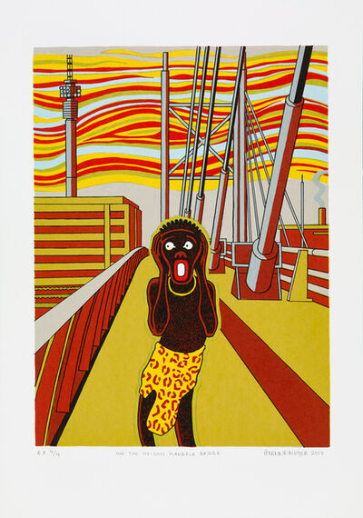 Anton Kannemeyer, 'On the Neslon Mandela Bridge (Black Scream)', 2017