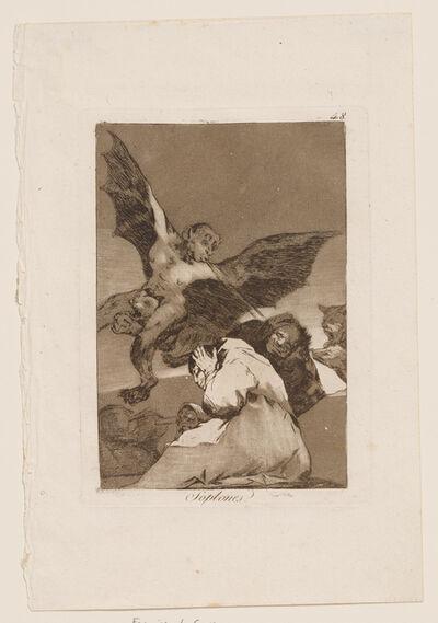 Francisco de Goya, 'Soplones (Tale Bearers - Blasts of Wind), Plate 48 from Los Caprichos ', 1799