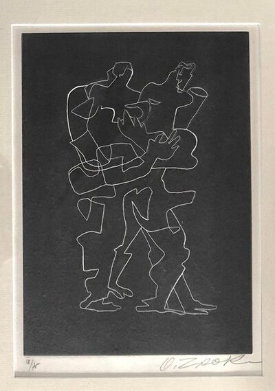 Ossip Zadkine, 'Cubist Russian French Etching Entwined Figures Bold Black & White Lithograph', 1960-1969