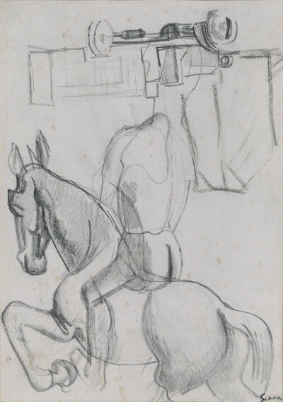 Mario Sironi, 'Composition with horse and knight, truck and houses', ca. 1920