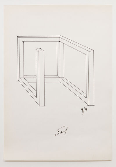 Sol LeWitt, 'Drawing for Incomplete Open Cube 9/9', 1973